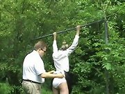 Schoolgirl smoker gets humiliating outdoor paddling & caning