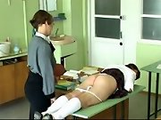 Lovely miss tied to the table an brutally beaten with her knickers pulled down