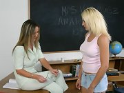 Teacher uses wooden paddle on hot busty blond ass