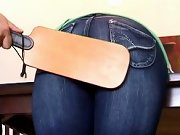 Girl spanked, bottoms spanked with hairbrush