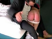 Blonde stunner bends over the end of the bend for severe bare assed spanking - hot blistered cheeks