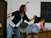 Brunette college teacher paddles hot brunettes bare ass!